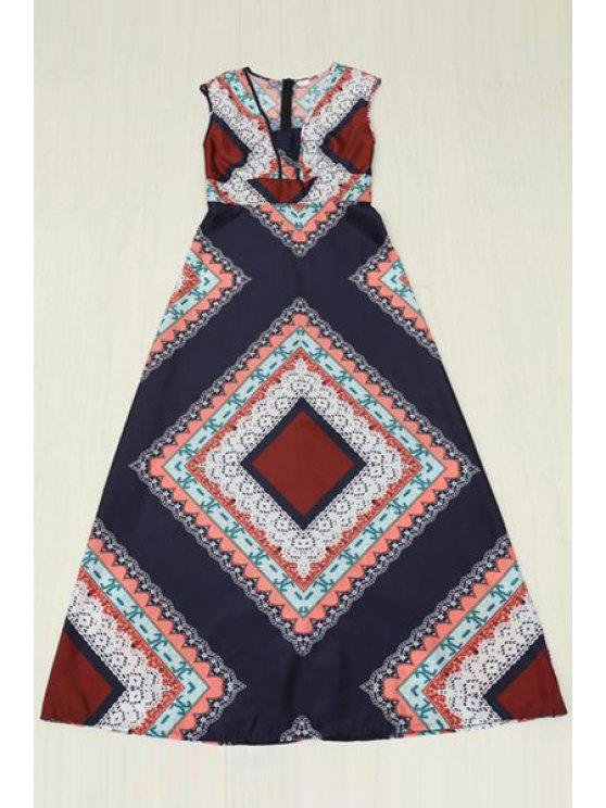 unique Color Block Geometric Pattern Sleeveless Dress - GRAY S