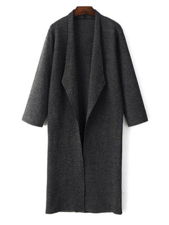 ladies Open Front Black Longline Cardigan - BLACK S