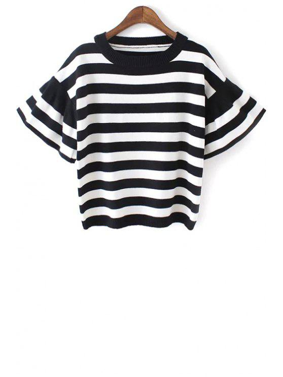 fancy Ruffle Sleeve Striped Jumper - WHITE ONE SIZE(FIT SIZE XS TO M)