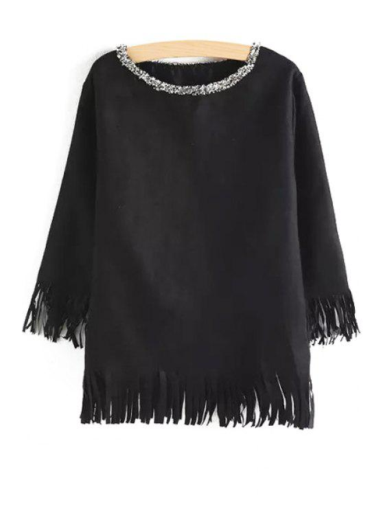 best Tassels Long Sleeves Round Collar Blouse - BLACK ONE SIZE(FIT SIZE XS TO M)