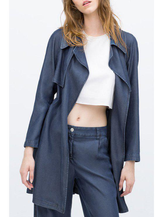 shops Chambray Trench Coat With Belt - BLUE S