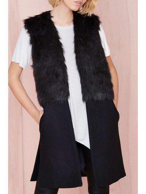 fancy Faux Fur Spliced Side Slit Waistcoat - BLACK L