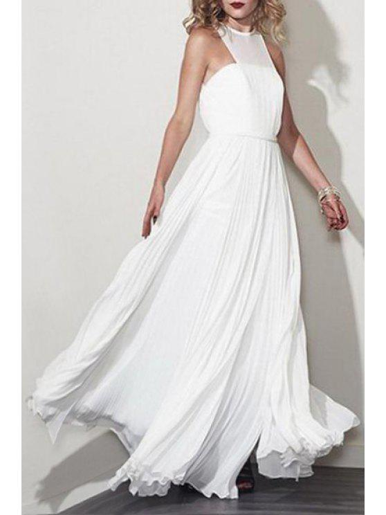 lady Jewel Neck Solid Color Sleeveless Pleated Dress - WHITE S