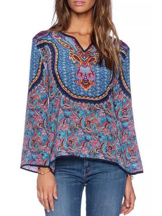 hot Floral Print V-Neck Long Sleeves Blouse - PURPLE S