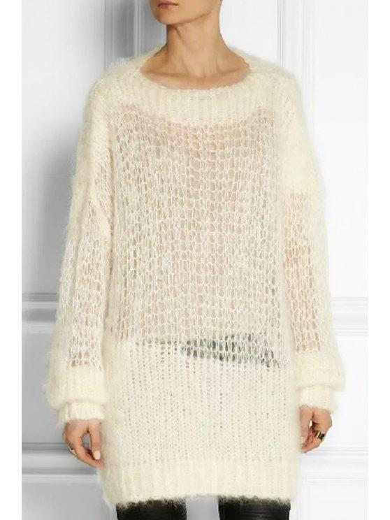 affordable See-Through Loose Sweater - WHITE ONE SIZE(FIT SIZE XS TO M)