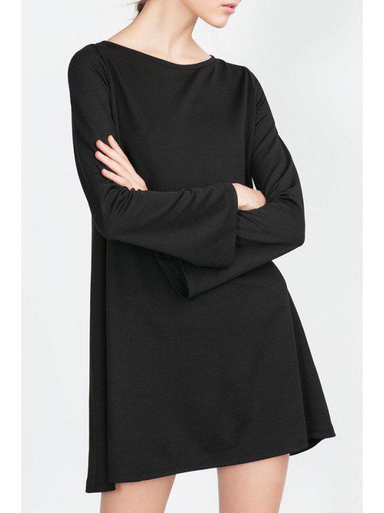 hot Long Bell Sleeve Solid Color Dress - BLACK L