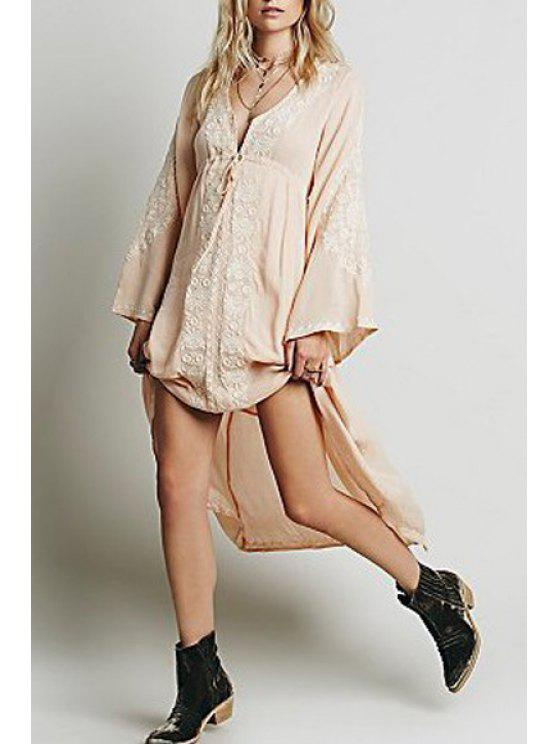 womens Floral Embroidered V Neck Long Sleeve Dress - SHALLOW PINK S
