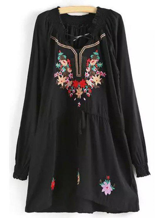 chic Long Sleeve Embroidered Dress - BLACK ONE SIZE(FIT SIZE XS TO M)
