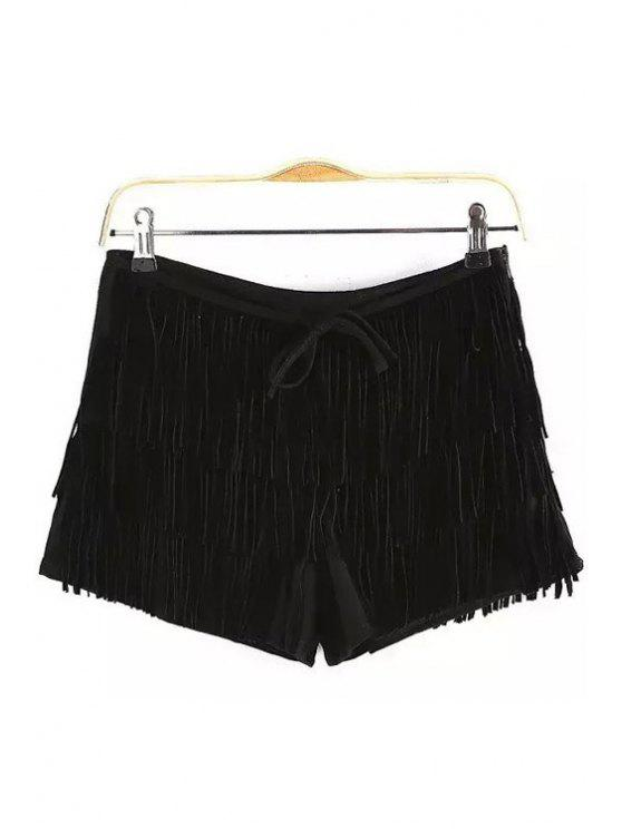 trendy Tassels Suede Shorts - BLACK S