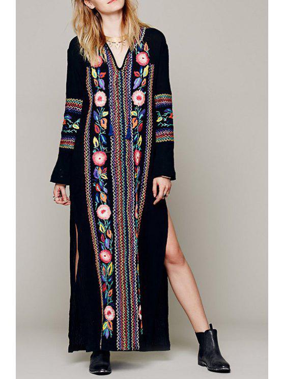 fashion V Neck Colorful Floral Embroidery Dress - BLACK S