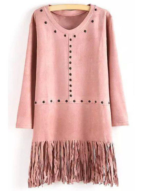 fancy Rivet Tassels Embellished Suede Dress - PINK ONE SIZE(FIT SIZE XS TO M)