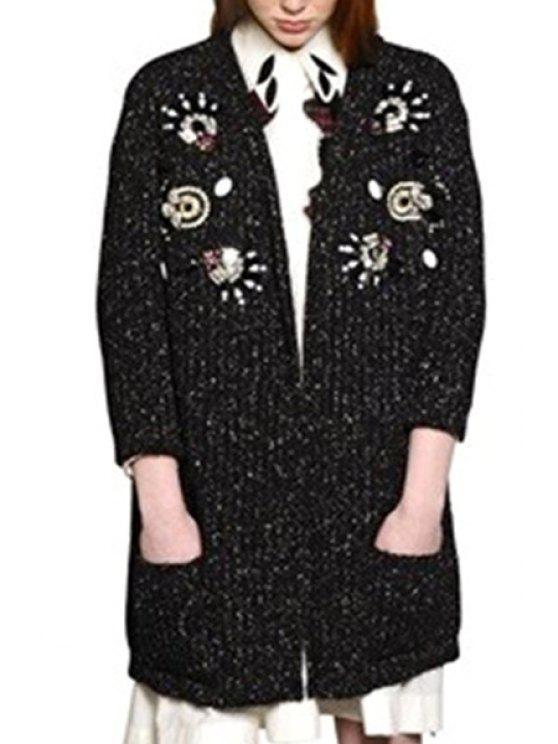 outfits Collarless Rhinestone Embellished Long Sleeve Cardigan - DEEP GRAY M