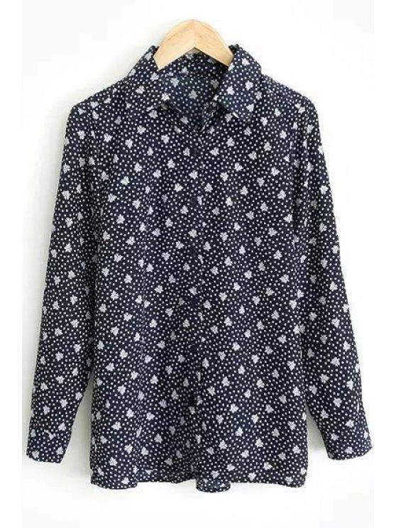 shop Full Tiny Floral Long Sleeve Shirt - PURPLISH BLUE S