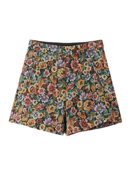 best Flower Pattern High Waisted Shorts - COLORMIX L