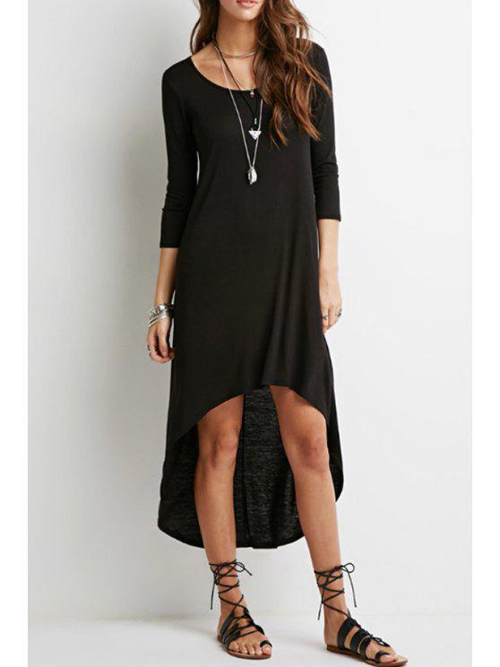 chic Black High Low Long Sleeve Dress - BLACK S