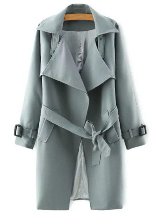 sale Lapel Belted Solid Color Coat - GRAY S