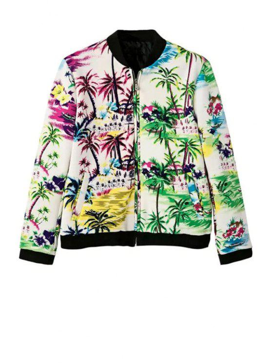 ladies Stand Neck Tropical Print Jacket - WHITE S