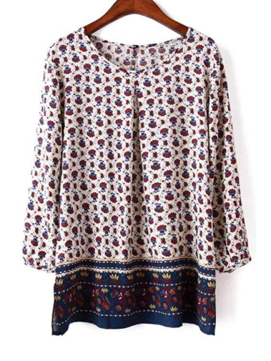 women's Vintage Floral Scoop Neck 3/4 Sleeve Blouse - COLORMIX S