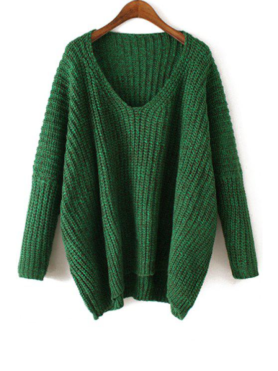 sale V-Neck Loose-Fitting Sweater - GREEN ONE SIZE(FIT SIZE XS TO M)