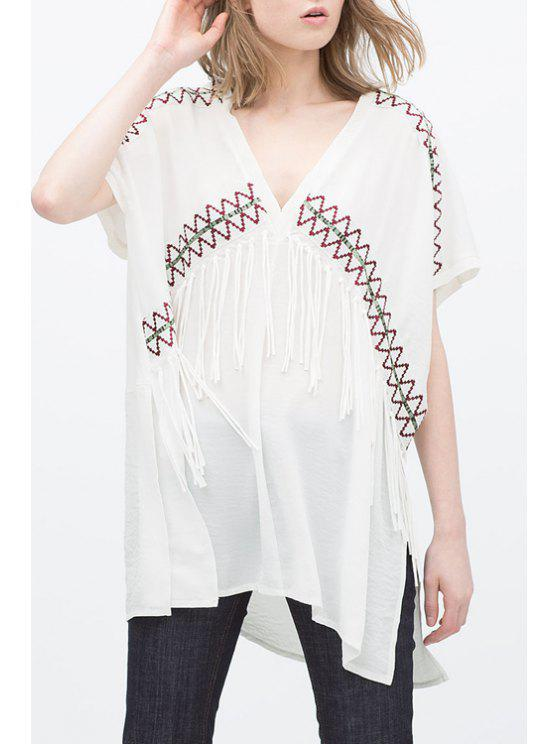 fashion Embroidery Plunging Neck Short Sleeve Blouse - WHITE S