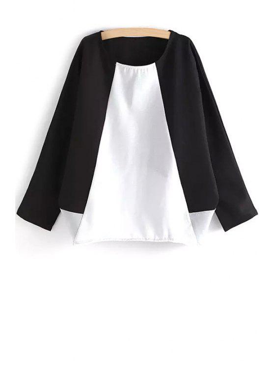 unique Color Block Loose-Fitting Blouse - BLACK M