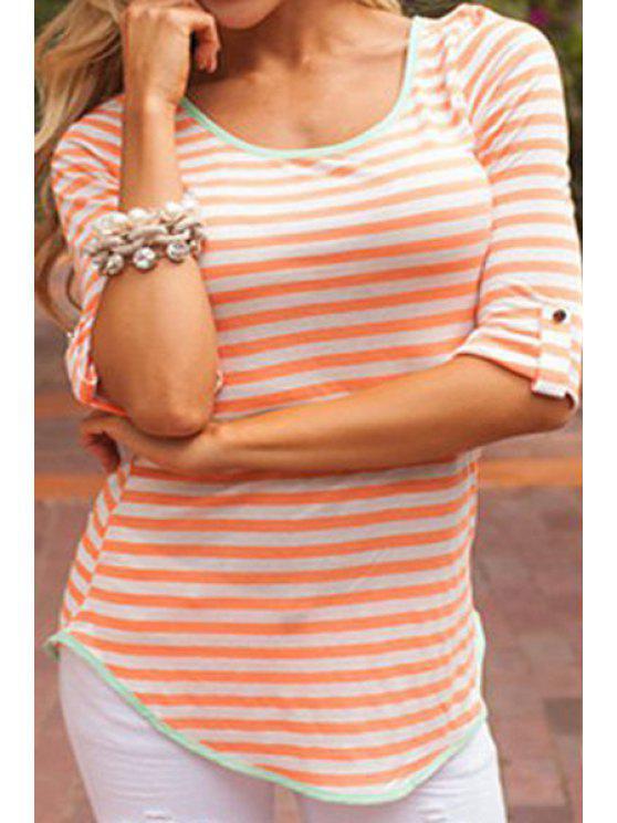 hot Stripe Back Bowknot Half Sleeve T-Shirt - COLORMIX S