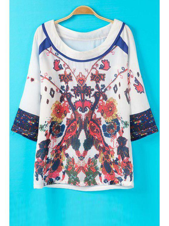 hot Floral Print Round Collar Plus-Sized Loose-Fitting T-Shirt - WHITE S