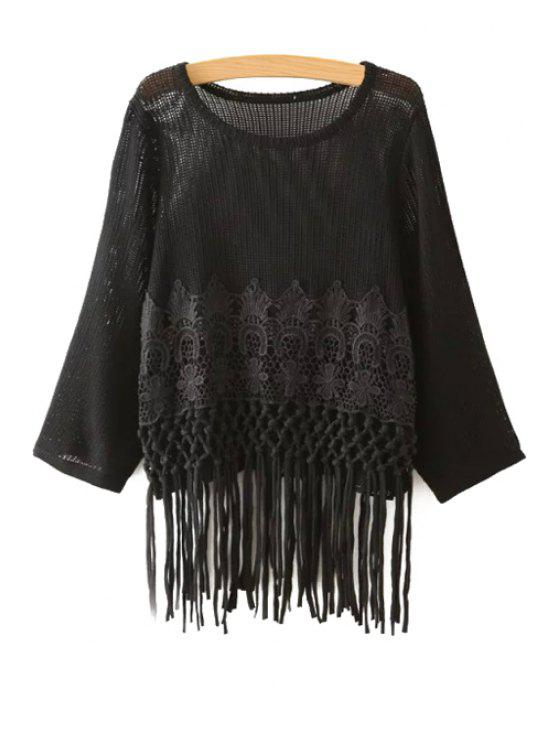 hot Crochet Flower Tassels Sweater - BLACK ONE SIZE(FIT SIZE XS TO M)