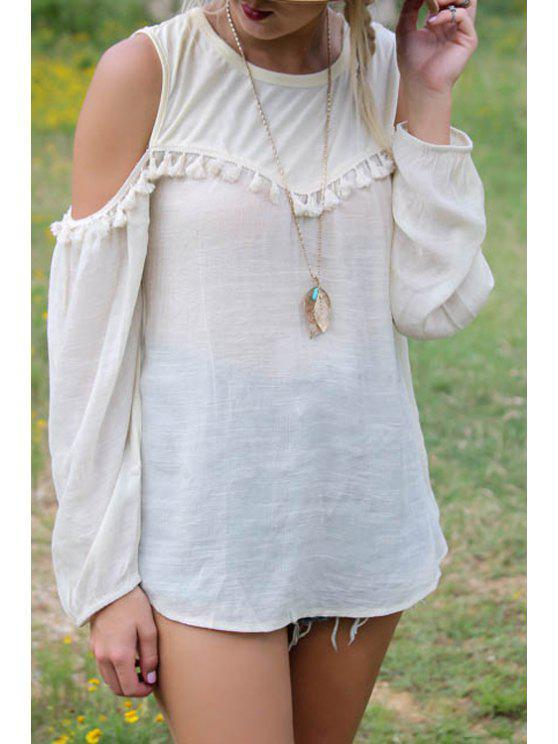 shops White Tassel Splicing Long Sleeve T-Shirt - WHITE S