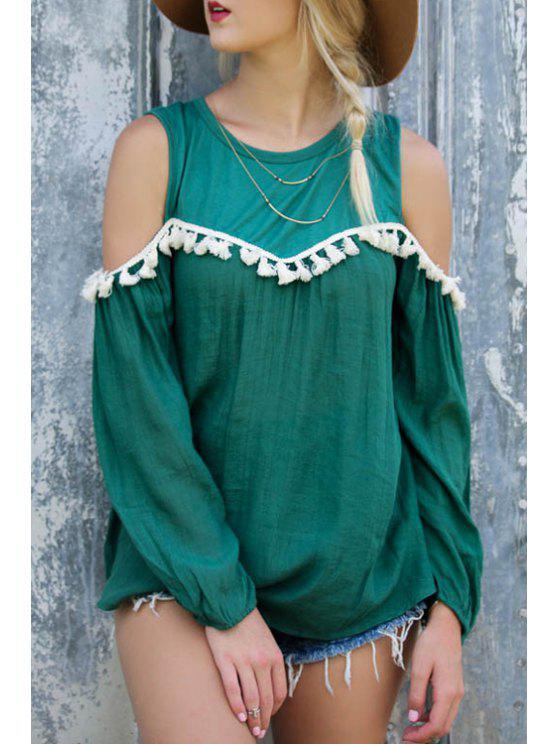 T-shirt à manches longues à épissure blanche Tassel - Vert L