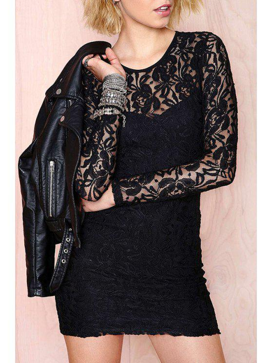 outfit Black Long Sleeves Lace Bodycon Dress - BLACK XS