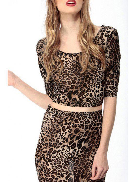 trendy Leopard Print Half Sleeve Crop Top - LEOPARD XS