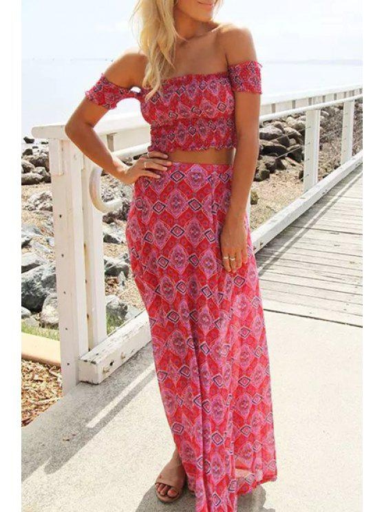 women's Floral Print Crop Top and Sexy Skirt Women's Suit - RED S