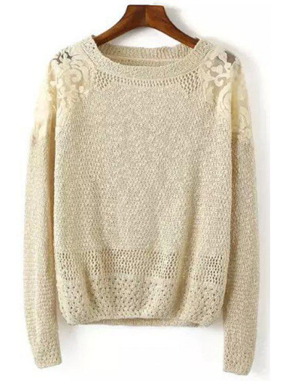 chic Lace Splicing Solid Color Long Sleeve Sweater - KHAKI ONE SIZE(FIT SIZE XS TO M)
