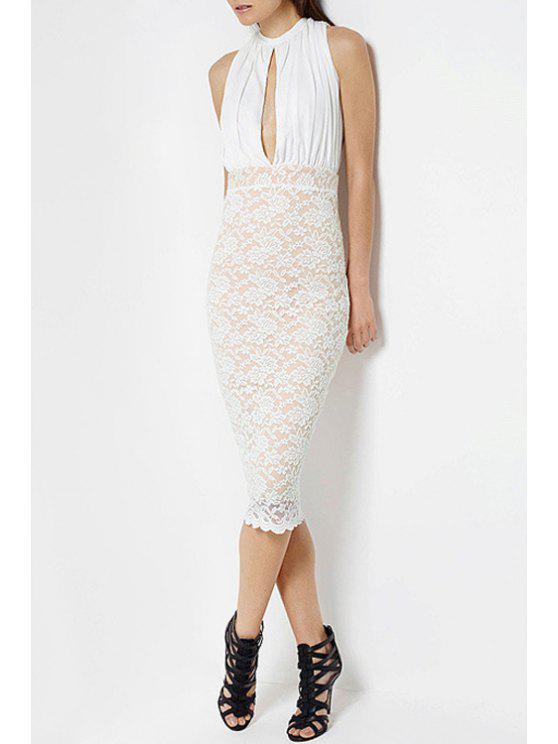 fancy Lace Spliced Keyhole Neckline Sleeveless Dress - WHITE XS