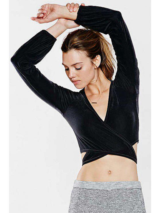 affordable Black V Neck Long Sleeve Crop Top - BLACK XS