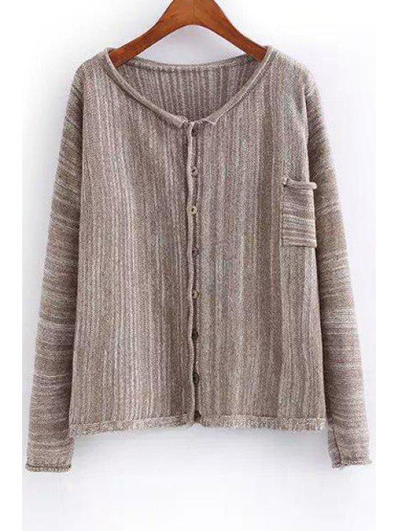 new Color Mixed Stripes Long Sleeve Cardigan - KHAKI ONE SIZE(FIT SIZE XS TO M)