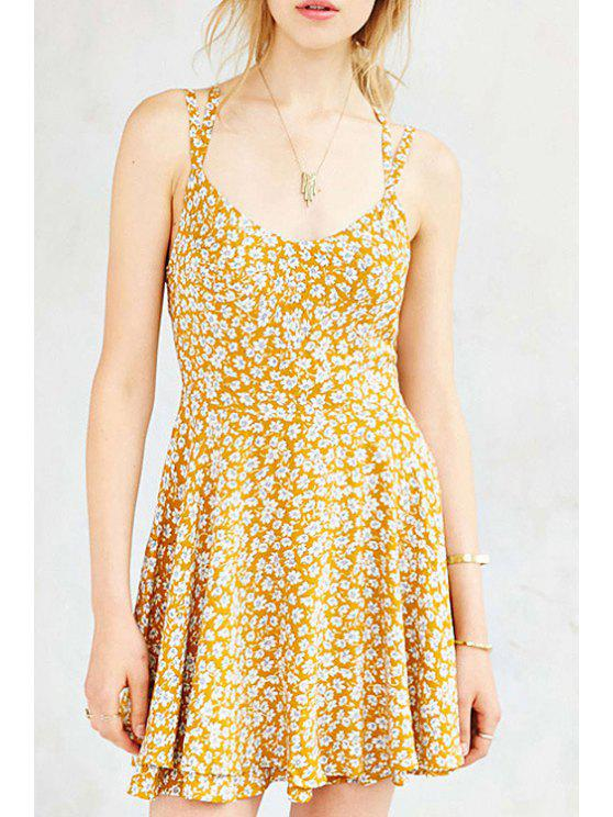 buy Full Floral Print Cami Backless Dress - YELLOW XS