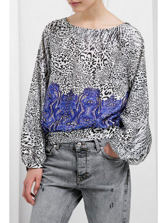 women's Leopard Print Round Collar Long Sleeves Blouse - WHITE AND BLACK S