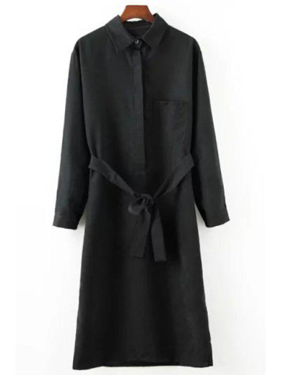 outfits Polo Collar Solid Color Belt Long Sleeve Dress - BLACK ONE SIZE(FIT SIZE XS TO M)