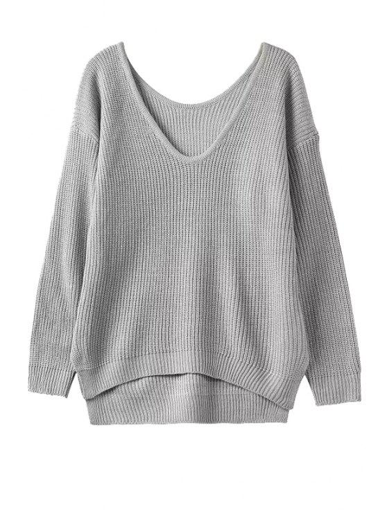 outfits High Low Split Long Sleeve Sweater - GRAY ONE SIZE(FIT SIZE XS TO M)