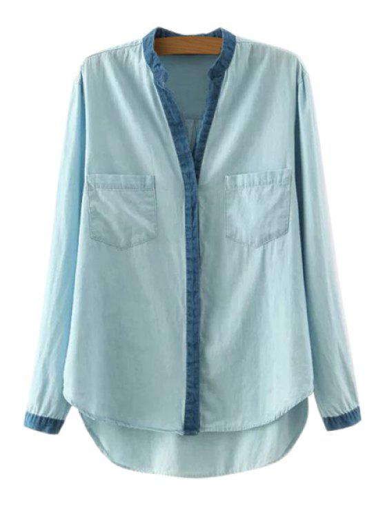 womens High Low Denim Splicing Long Sleeve Shirt - LIGHT BLUE L
