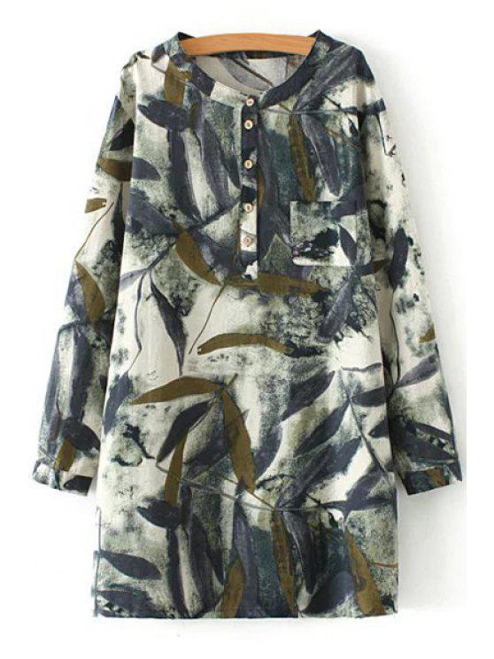 women Green Leaves Print Long Sleeve Shirt - COLORMIX XL