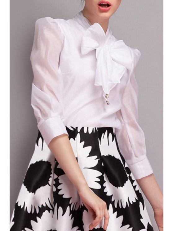 outfit Bowknot Chiffon Long Sleeves Solid Color Shirt - WHITE S