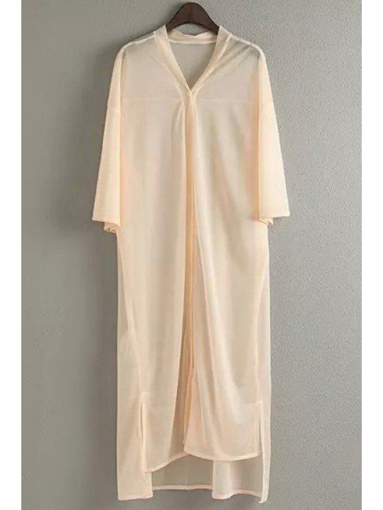 sale Half Sleeve Chiffon Shirt Dress - APRICOT ONE SIZE(FIT SIZE XS TO M)