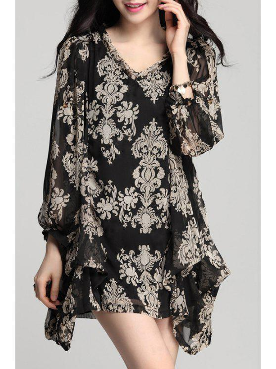 womens Irregular Hem Chiffon Long Sleeves Loose-Fitting Dress - BLACK L