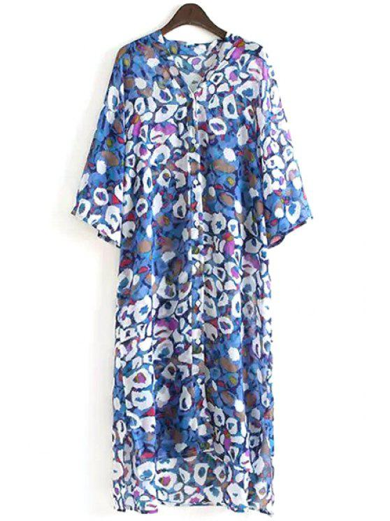 latest Half Sleeve Printed Chiffon Dress - COLORMIX ONE SIZE(FIT SIZE XS TO M)