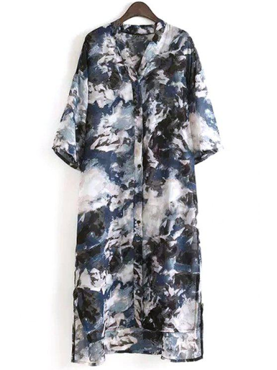 trendy Stand Neck Half Sleeve Shirt Dress - COLORMIX ONE SIZE(FIT SIZE XS TO M)