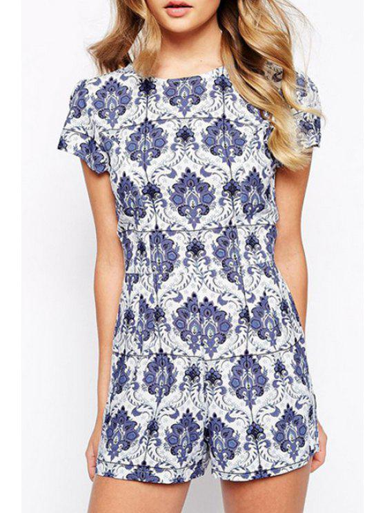 outfit White and Blue Porcelain Playsuit - AS THE PICTURE S