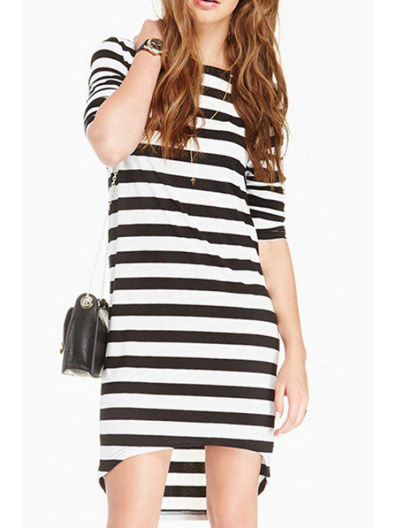 hot Striped Long Sleeve Dress - WHITE AND BLACK S
